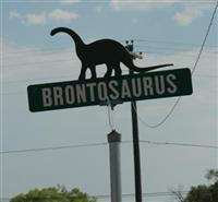 Brontosaurus street sign, Dinosaur, Colorado