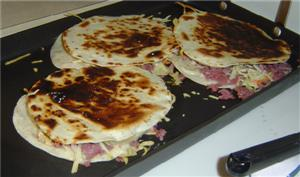 Quesadillas before cutting